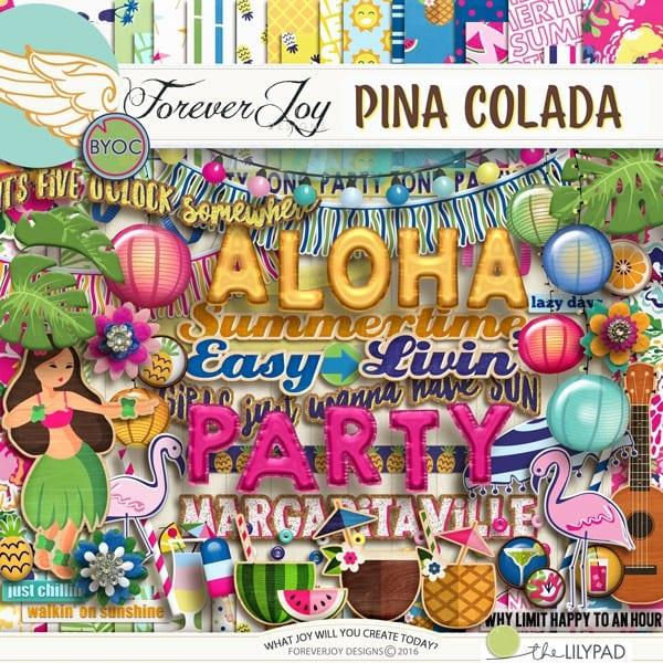 DIGITAL SCRAPBOOKING | FOREVERJOY DESIGNS | PINA COLADA